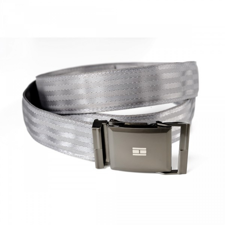 Grey belt in recycled seatbelt