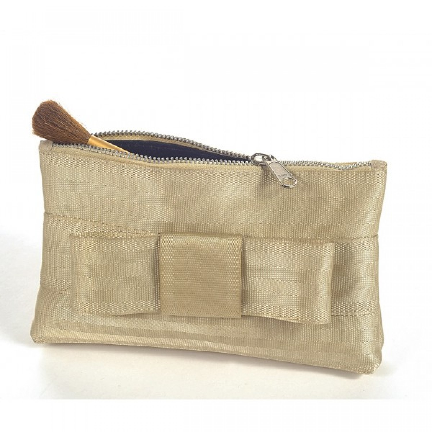 Little make-up bag / clutch in golden recycled seatbelt
