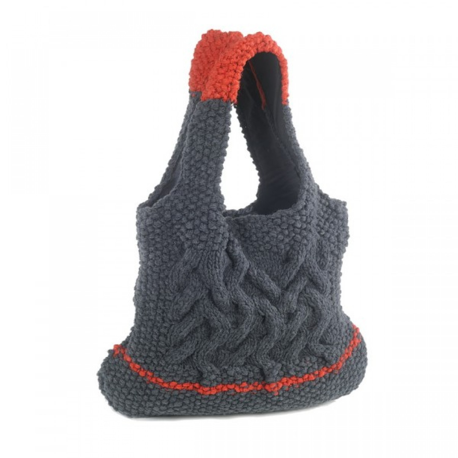 Devi | grey and red bag in wool