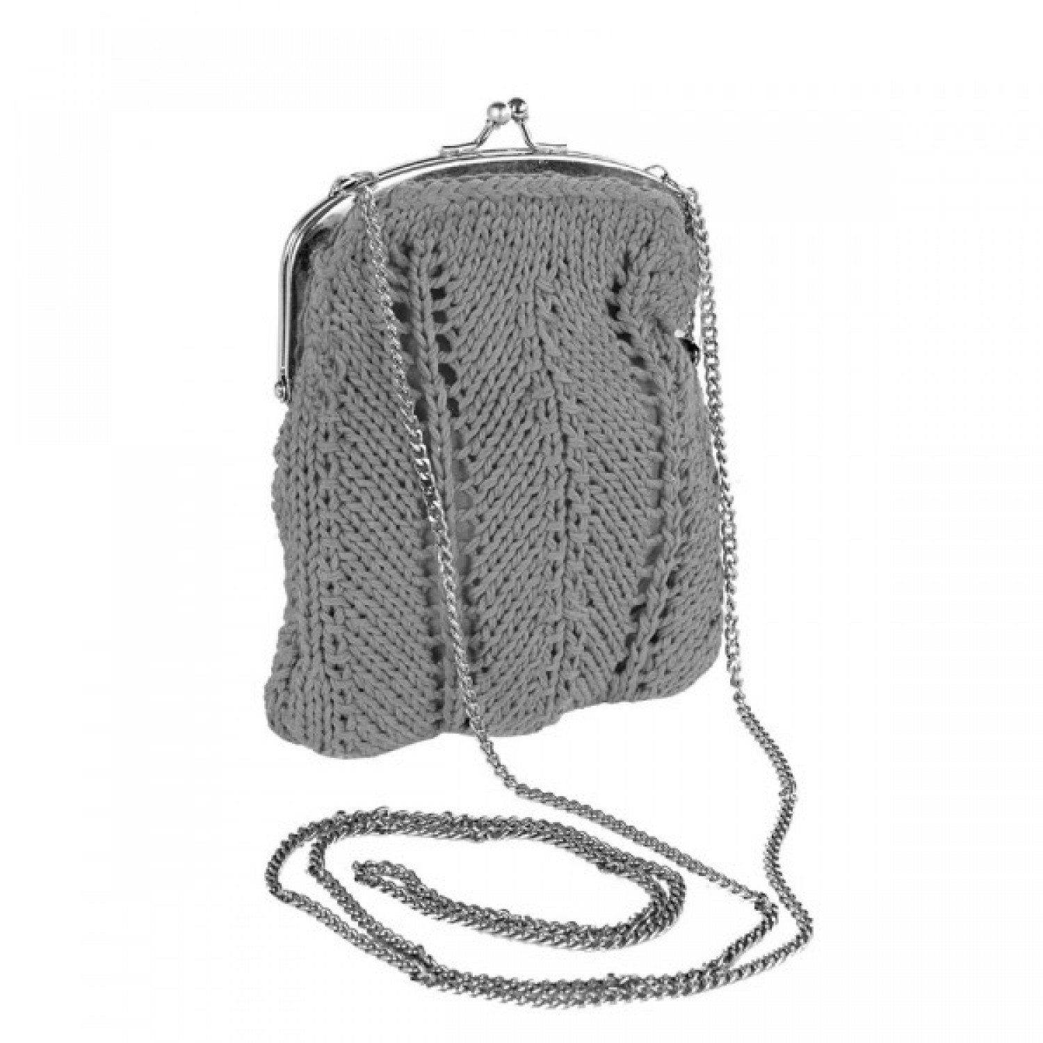 Grey purse with shoulder strap - recycled yarn | Marron Rouge