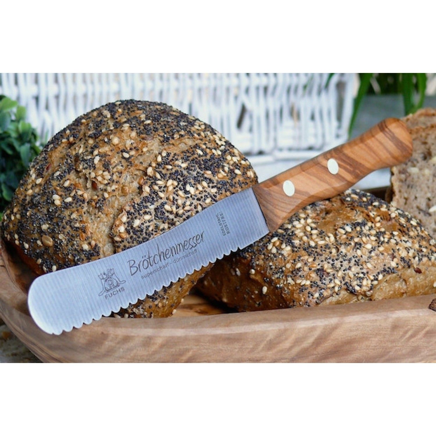 Butter Spreader & Bread Roll Knife Stainless Steel & Olive Wood