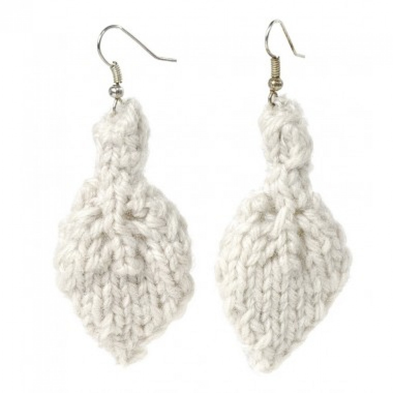 Leaf | Earrings made of white wool