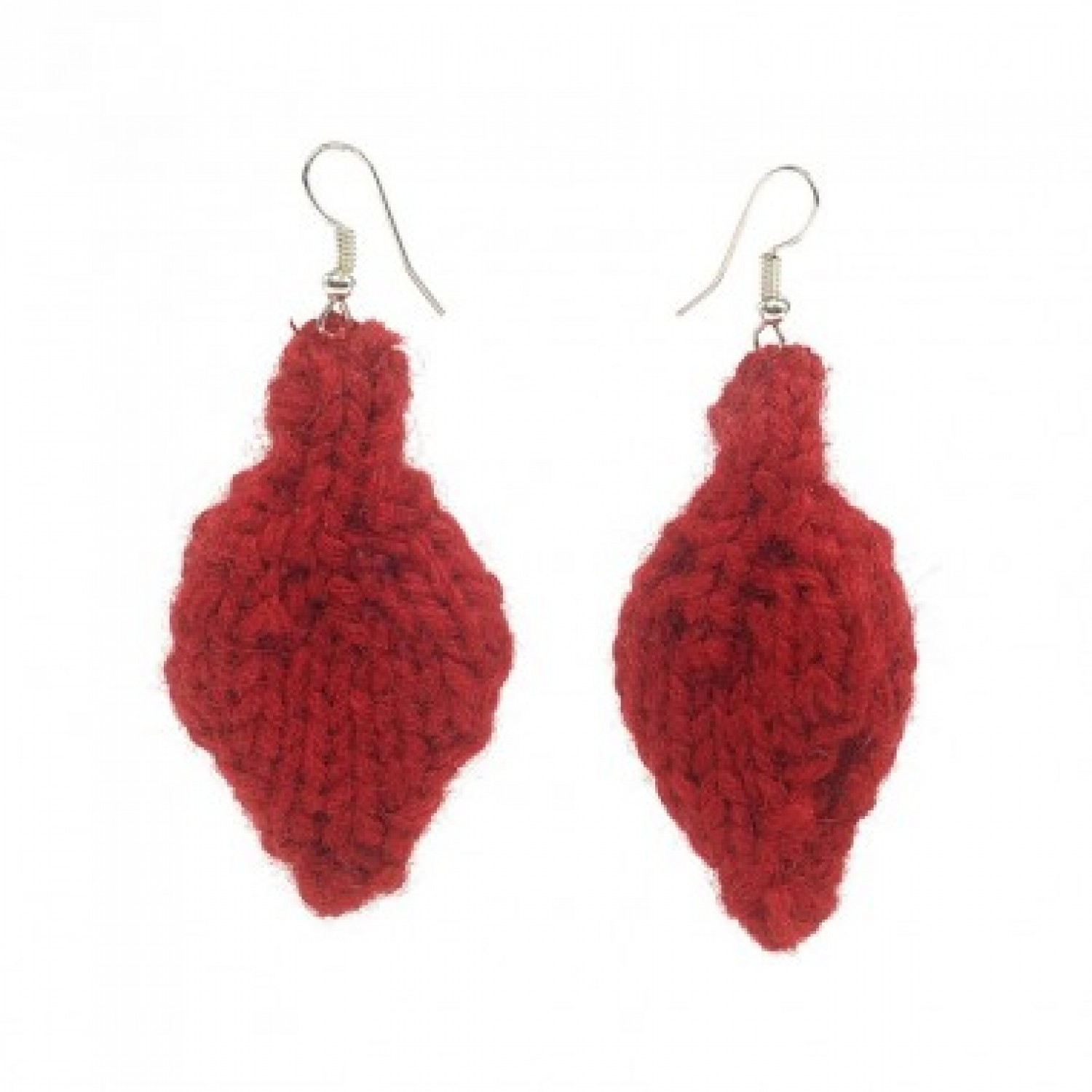 Leaf: Eco Earrings made recycled red wool | Marron Rouge