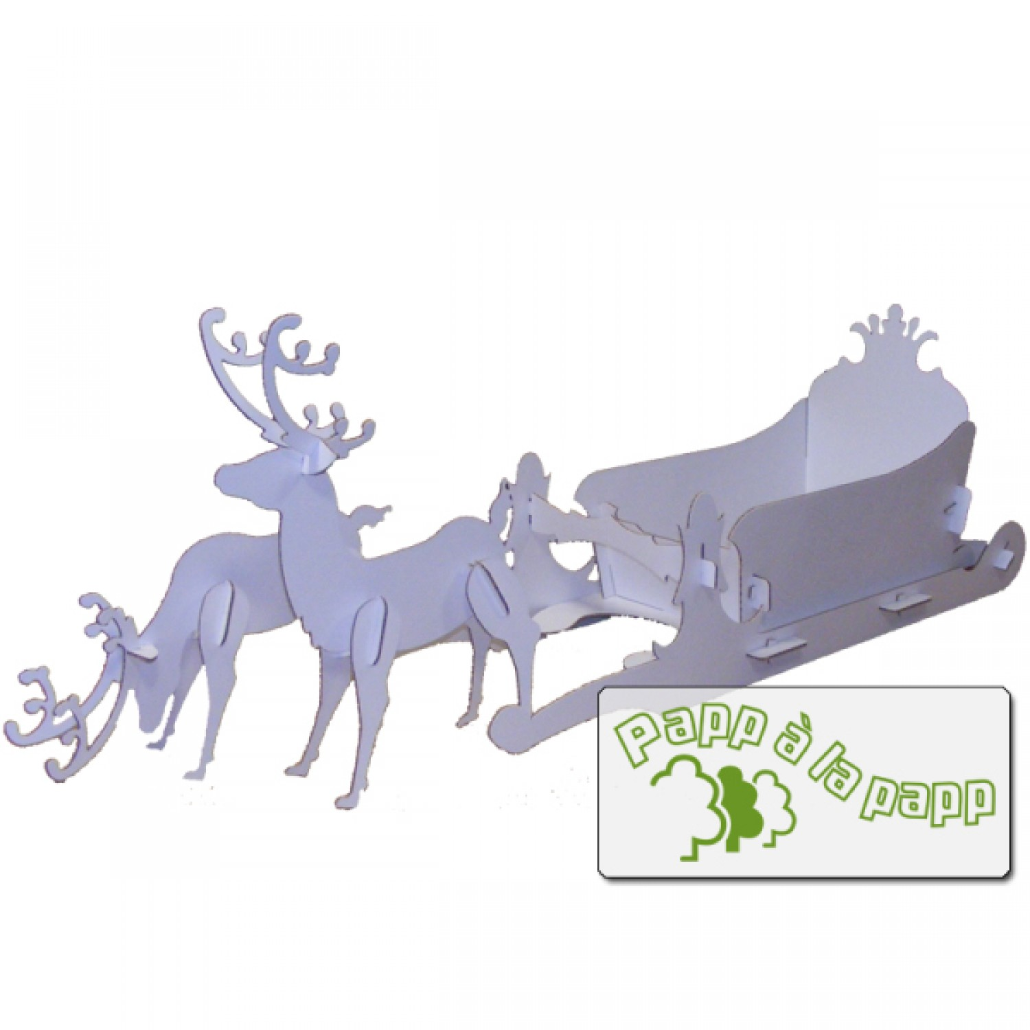 Cardboard reindeer with sledge for individually painting - Schlitten basteln pappe ...
