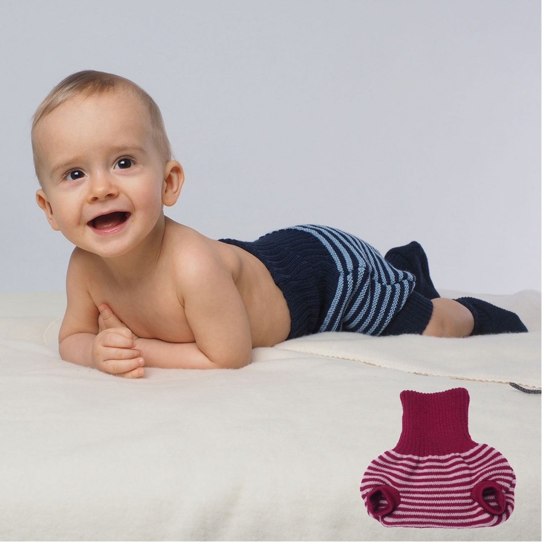 Ringed Diaper Trouser from Eco Merino-Wool   Reiff