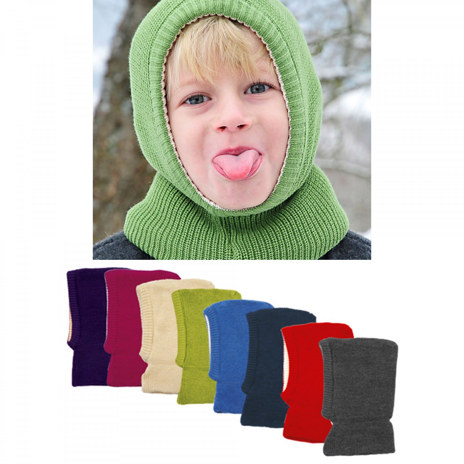 Balaclava & Snood - Kids Beanie Organic Wool & Cotton
