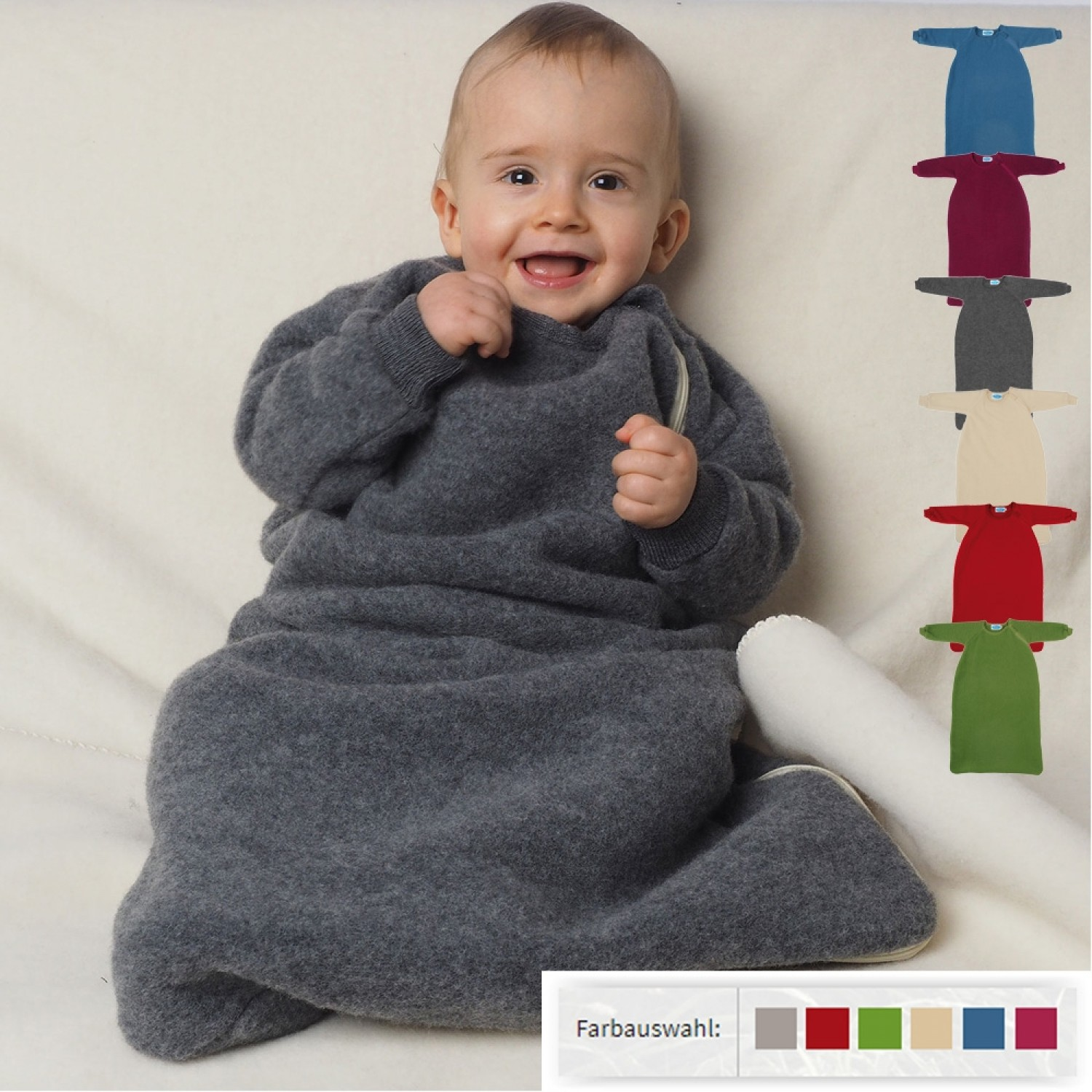 online store d21f3 4f79e Organic Fleece Baby Sleeping bag with sleeves