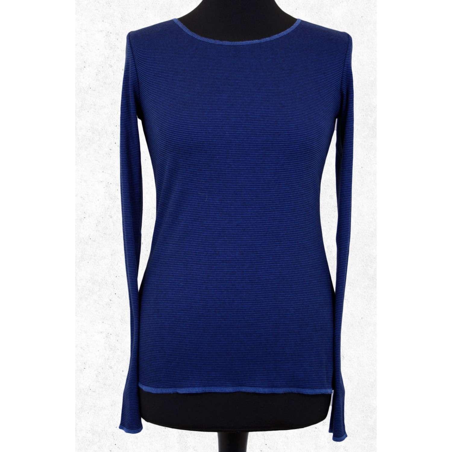 Royal Blue striped organic long-sleeved women shirt | Jalfe