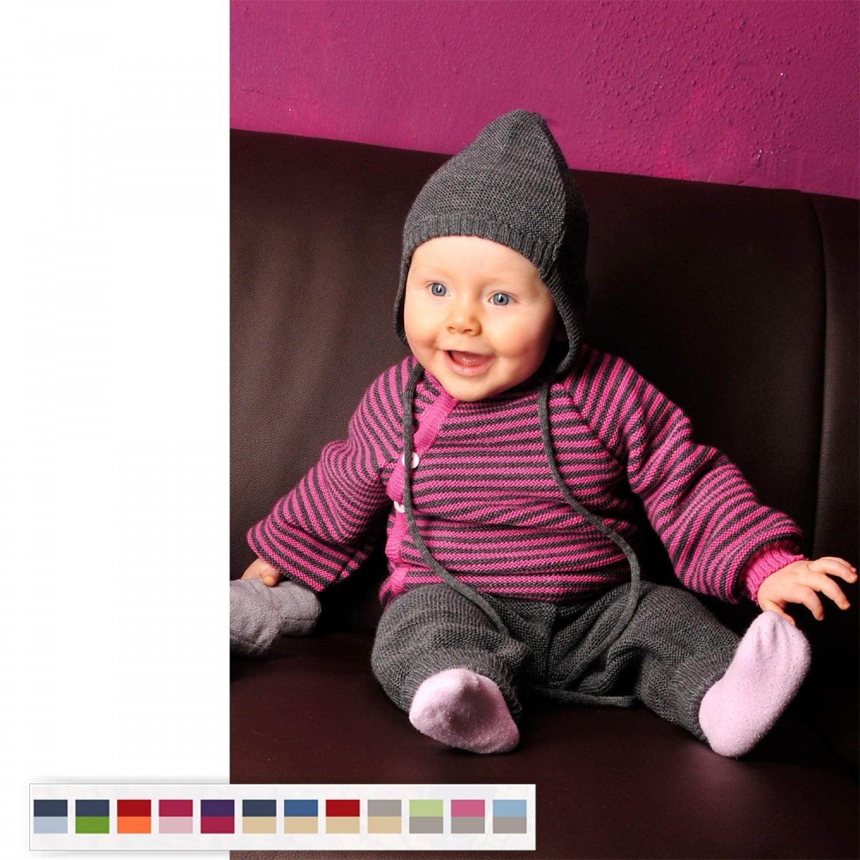 Baby Pullover RingelschlüttlBaby Pullover with Button Tape aubergine/berry - Organic Wool | Reiffi aus Bio-Wolle | Reiff