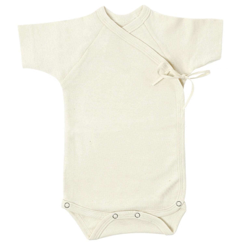 Wrap Bodysuit of Organic Cotton, short-sleeved | Lotties