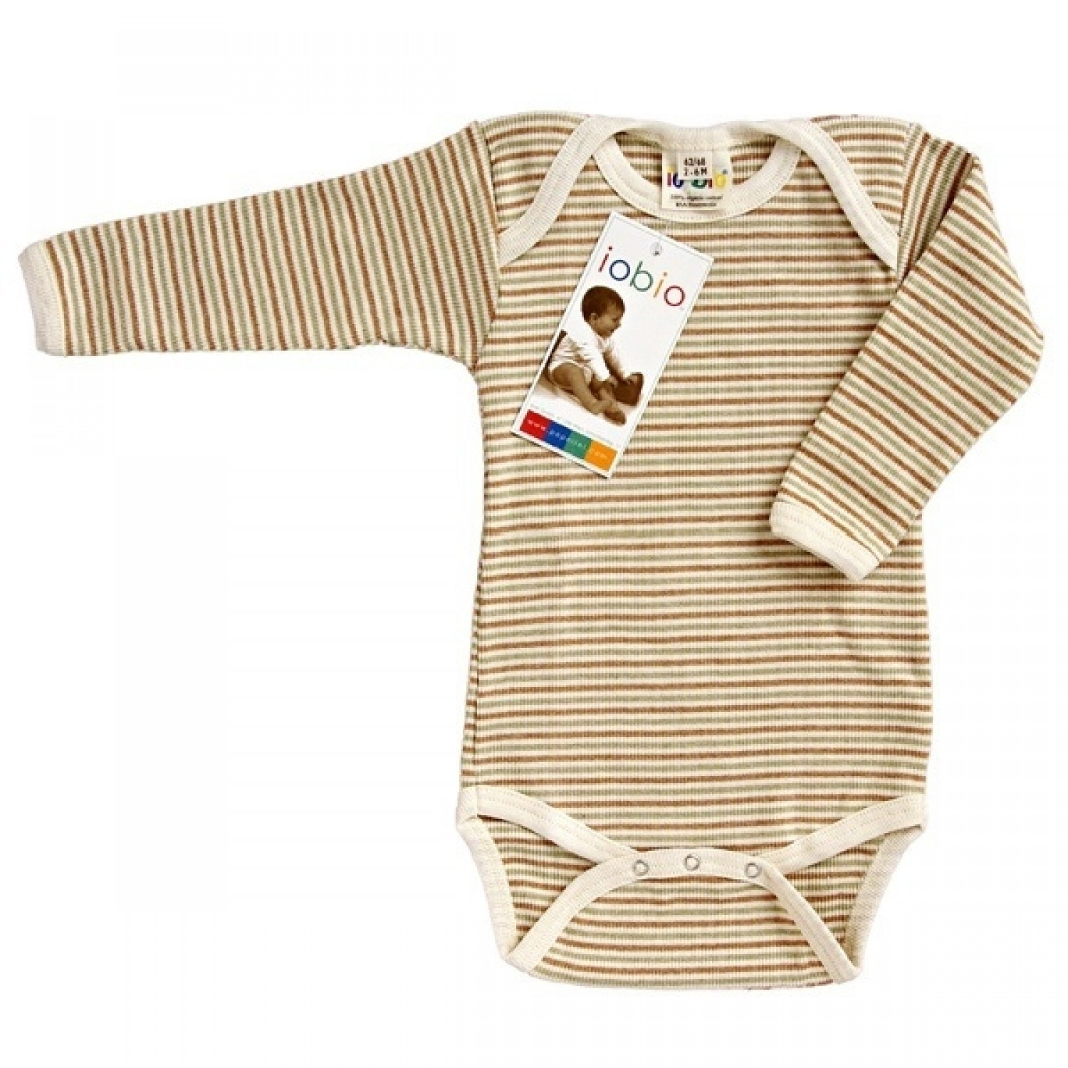 Popolini Bodysuit long-sleeved GOTS brown-striped