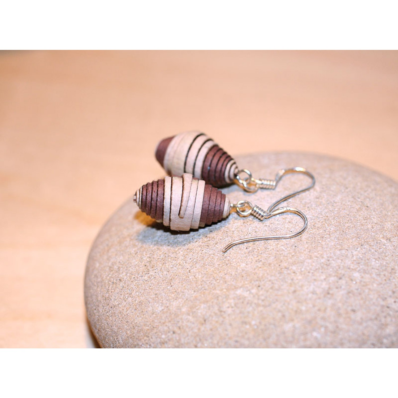 Earrings Café au lait of Eco Paper | Sundara Paper Art