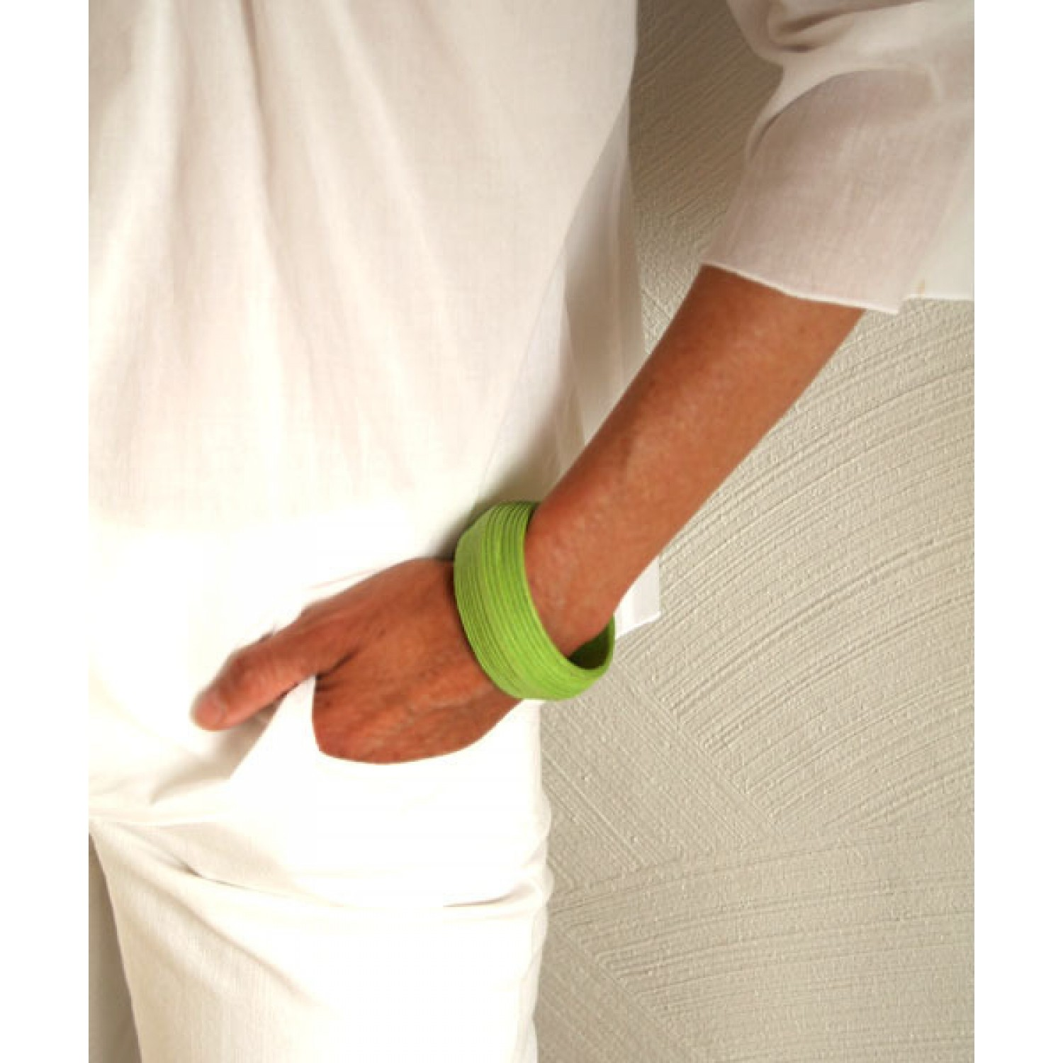 Fair Trade Armlet - Bracelet GREEN made of Eco Paper