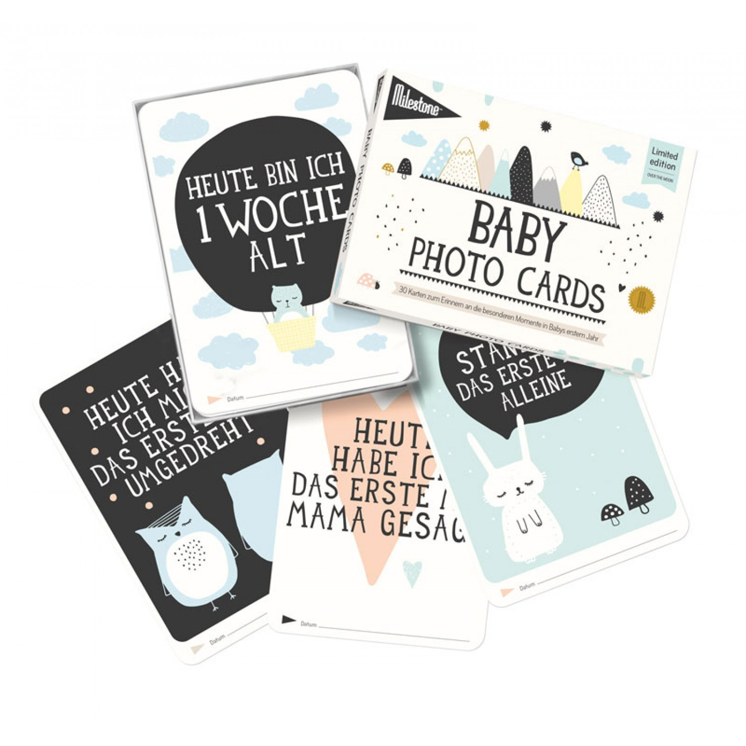 Over the moon - Deutsch | Milestone Baby Cards