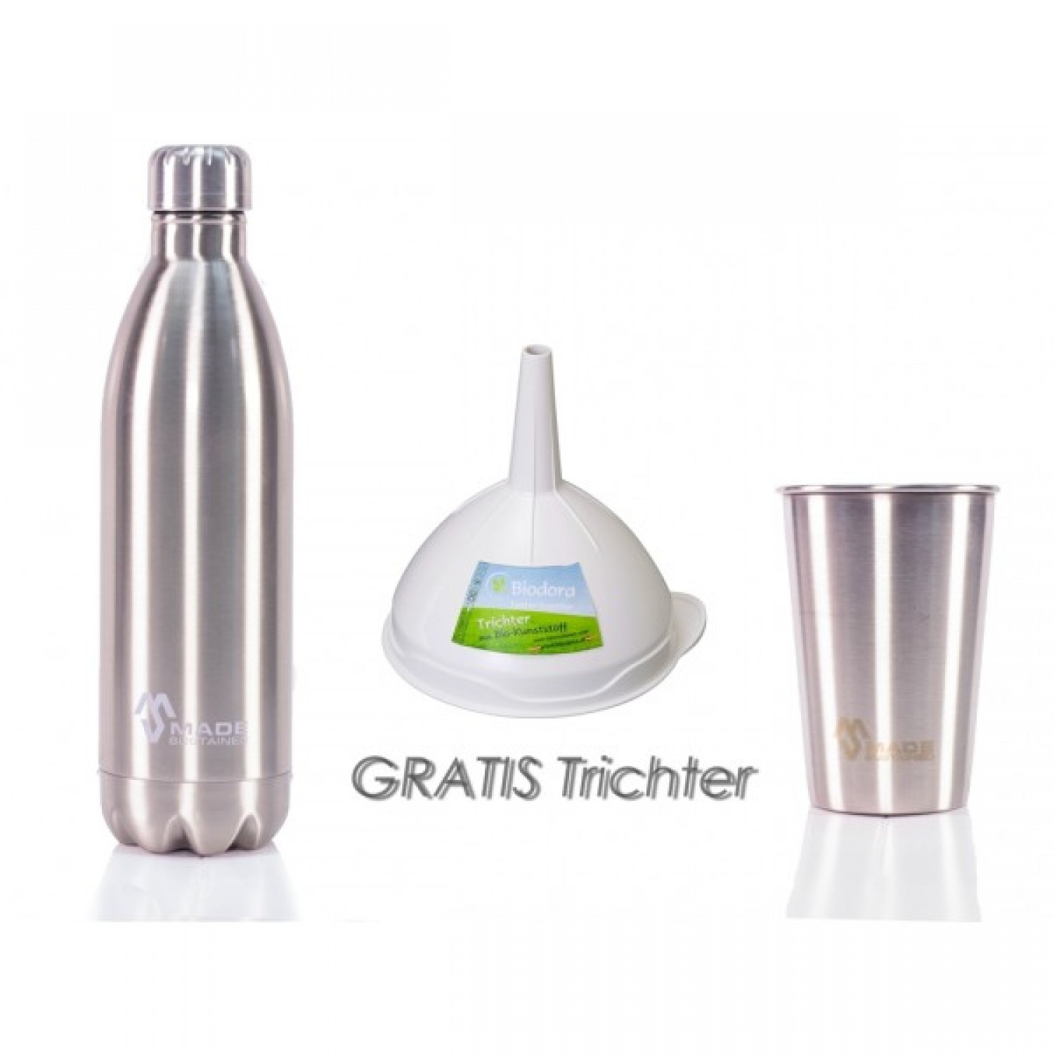 Stainless steel bottle, cup and funnel