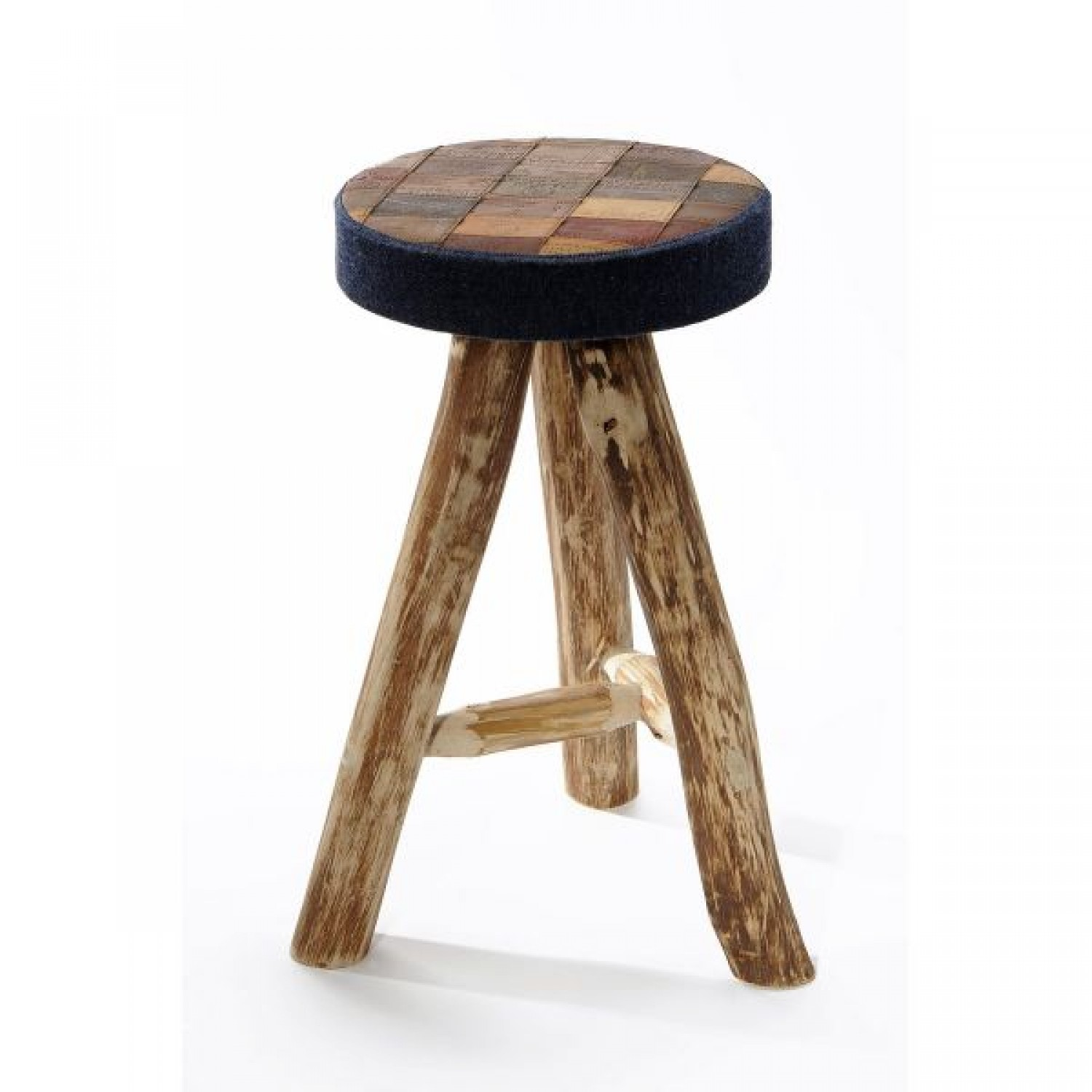 Saloon – Stool in Eucalyptus Wood and Denim Labels