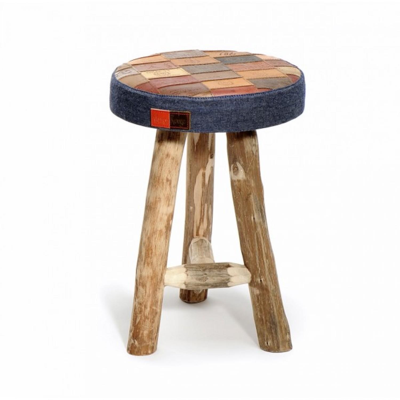 Saloon Stool in Eucalyptus Wood + denim labels L