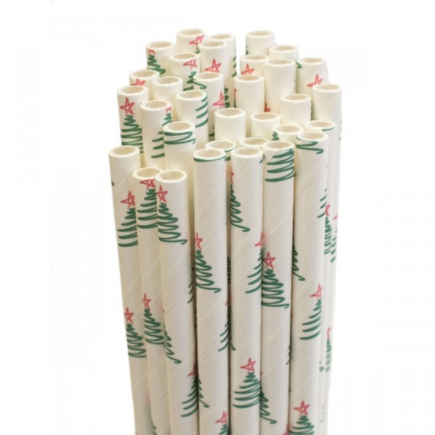 Paper Drinking Straw – Christmas Trees