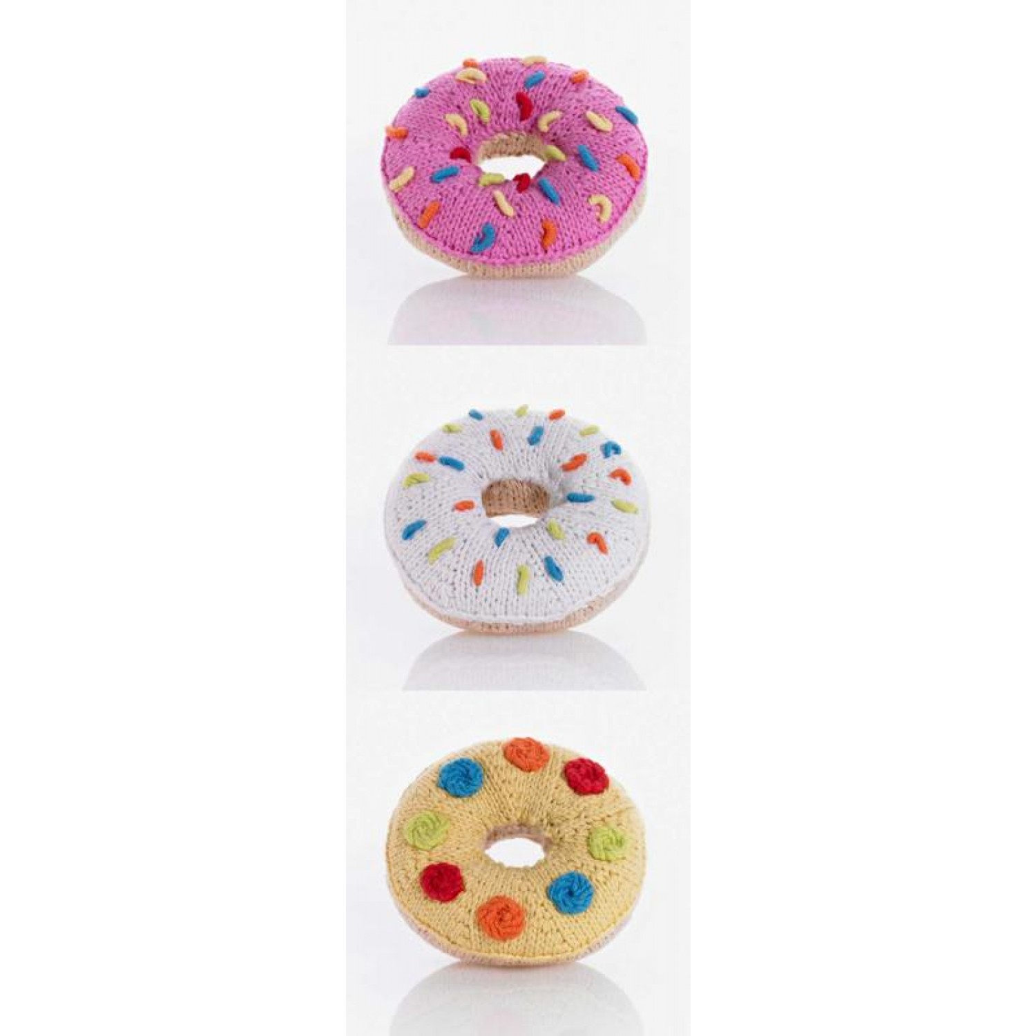 Donut Rattle of Organic Cotton in various colours | Pebble