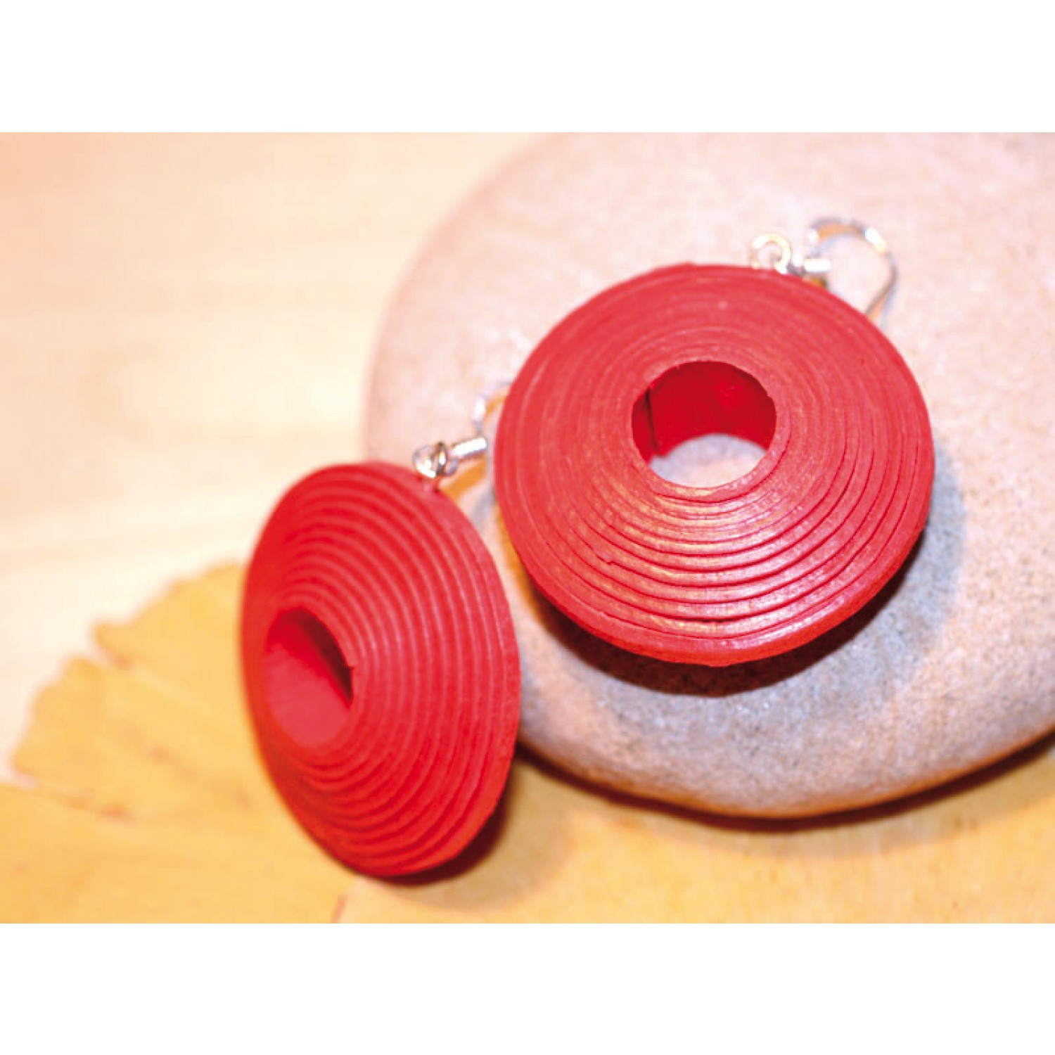 Eco Paper-Earrings – red II | Sundara Paper Art