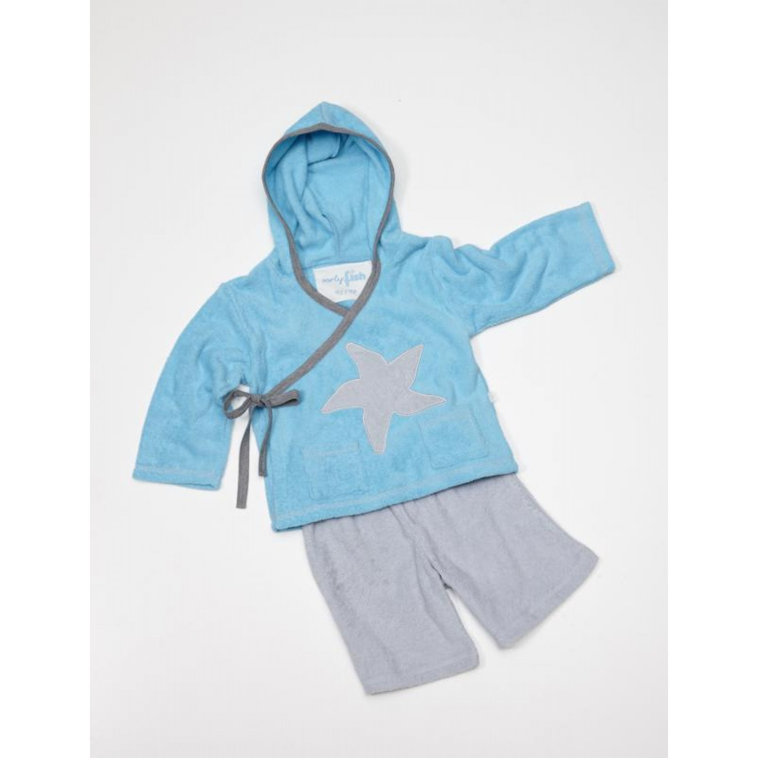 Wrap Top with Hood & Shorts for children, Organic Cotton