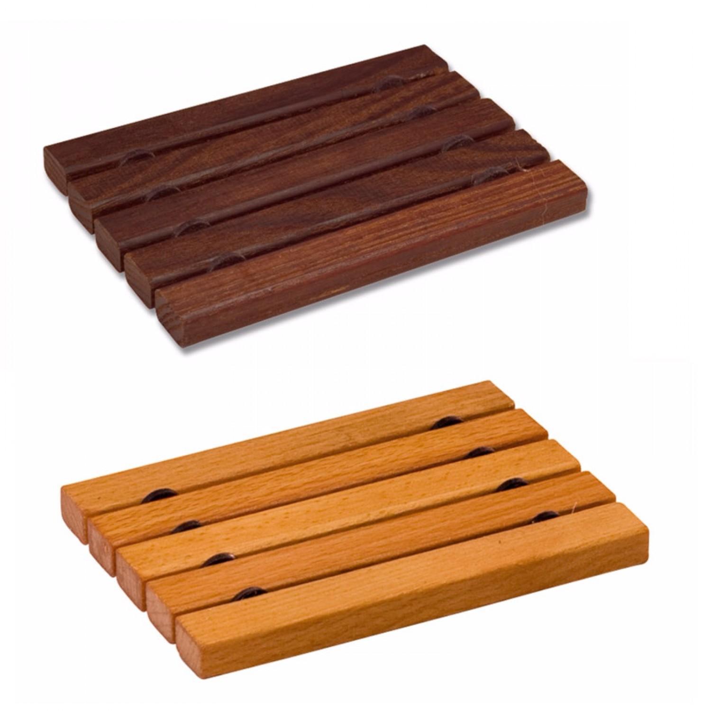 Holz Seifenschale, Form flach & eckig mit Niro-Draht