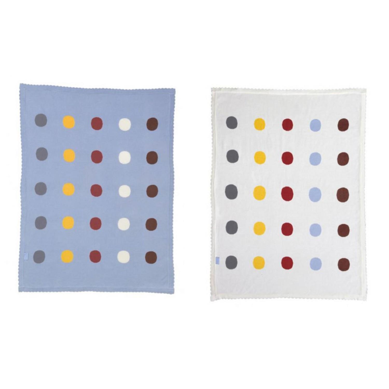 Babydecke Blau oder Weiß mit Punkten aus Bio-Baumwolle