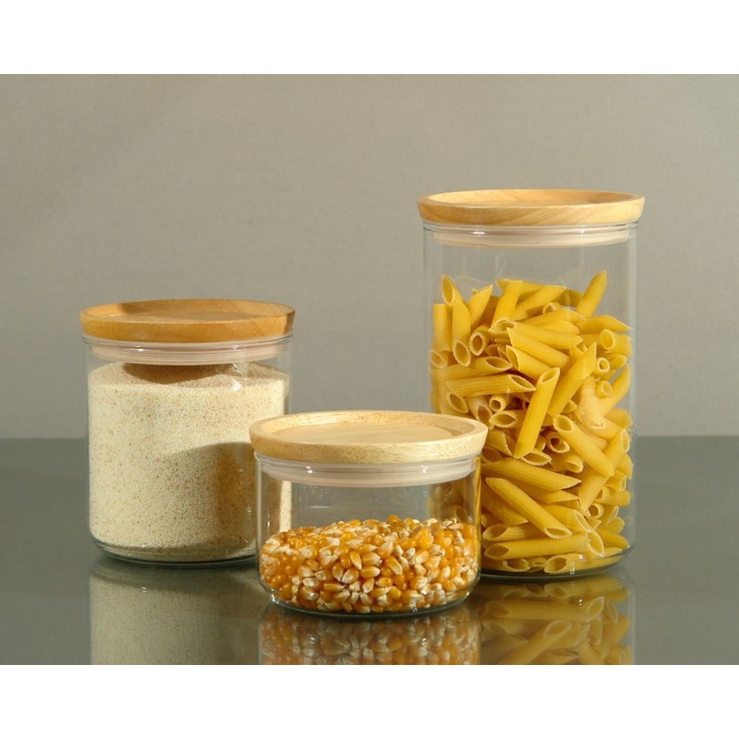Glass Storage Box 0.4 l, 0.8 l or 1.2 l with Wooden Lids