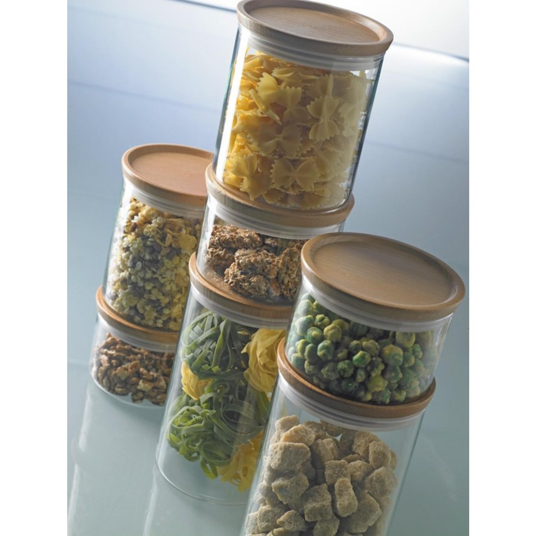 Glass Jar food storage container with wooden lid | Trendglas Jena