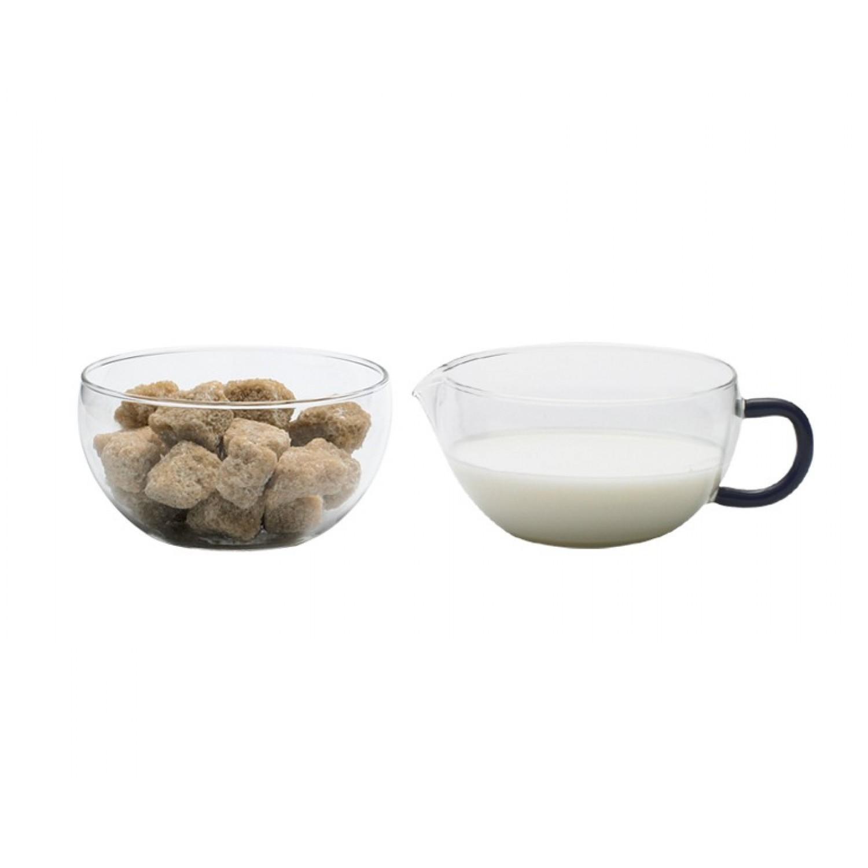 Glass Sugar Bowl & Creamer Jug MIKO Blue Hour