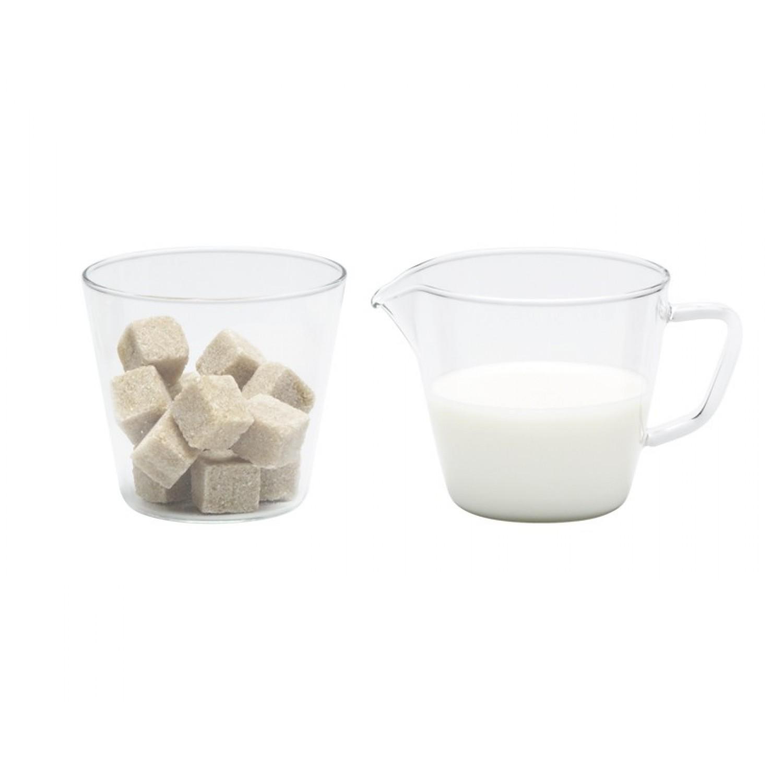 Glass Sugar Bowl & Creamer Jug Set NOVA
