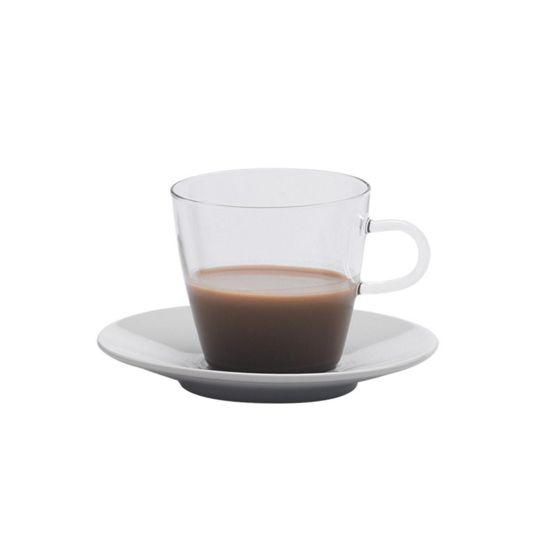COSTA I Kaffeeglas mit Porzellan-Unterteller