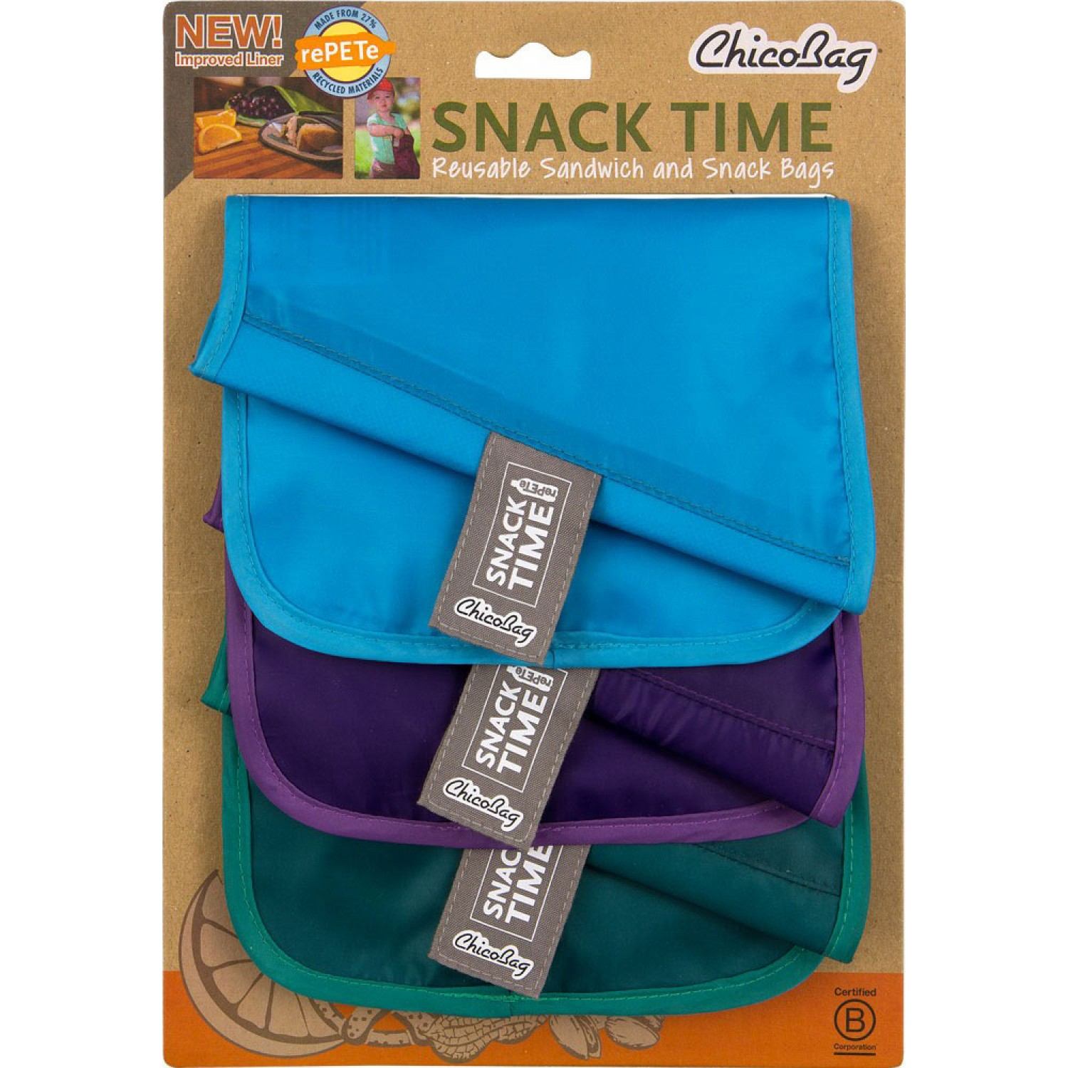 ChicoBag® Snack Time rePETe™ 3part Set Sandwich Bags