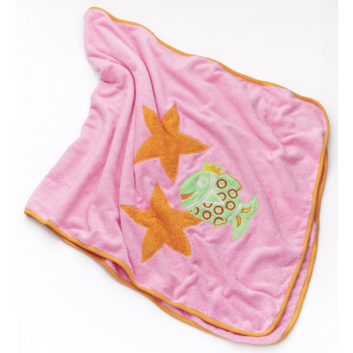 Pink Eco Bath Towel for children, cute fish | early fish