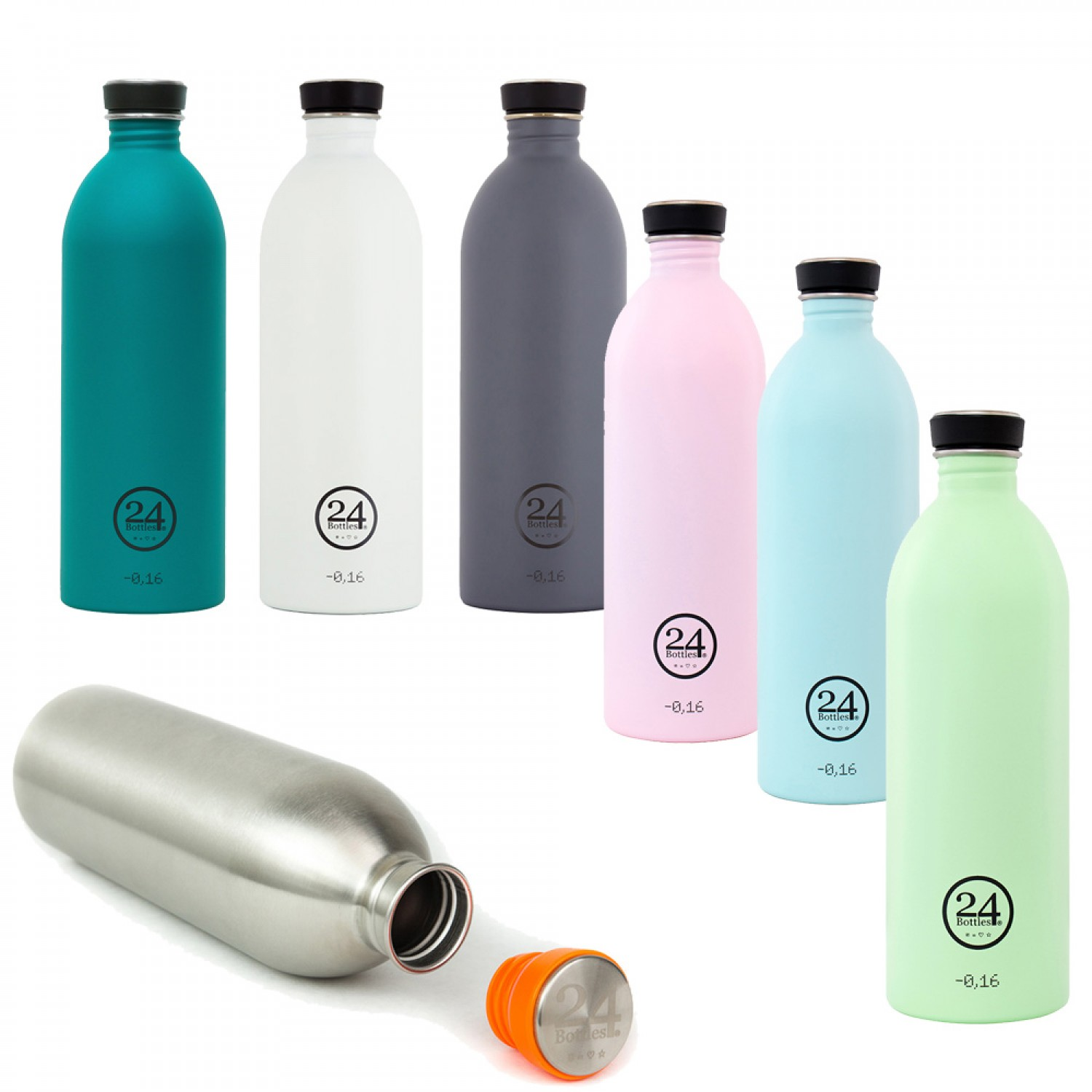 Stylish Stainless Steel Drinking Bottle 1L - various colours | 24Bottles