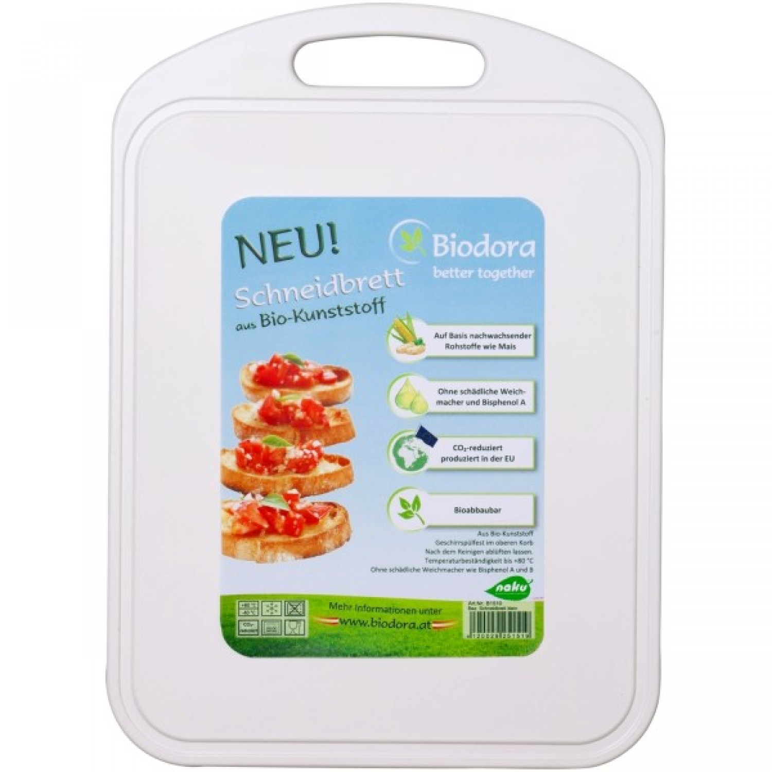 Cutting Board with juice rim from bioplastics | Biodora