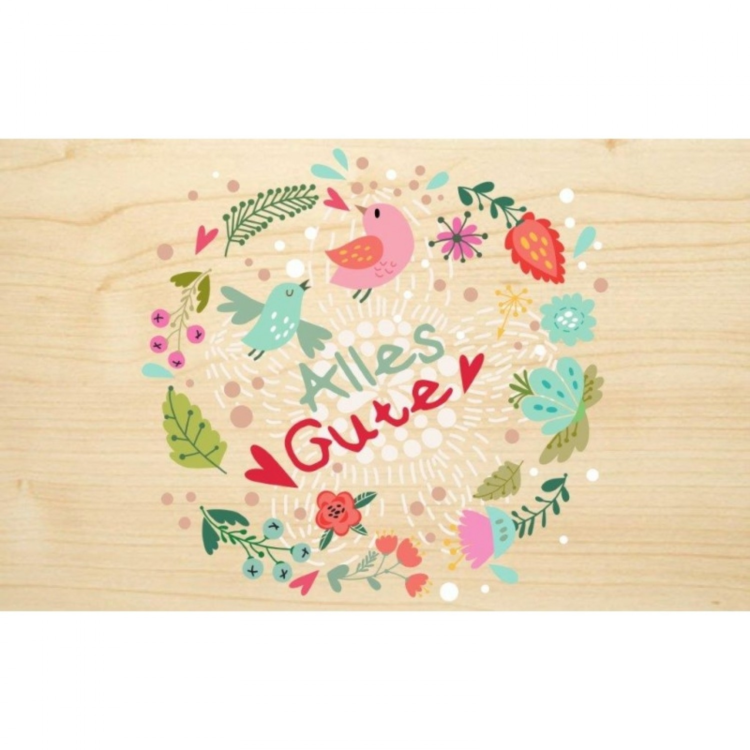 Alles Gute (All the best) eco wooden postcard | Biodora