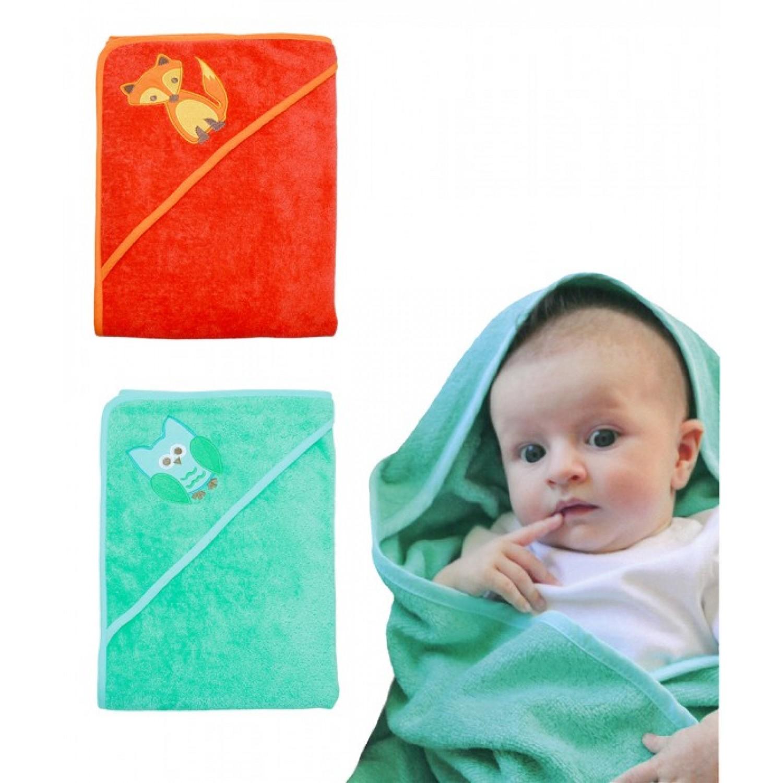 Öko Baby KapBaby Hooded Towel: Fox (orange) Or Owl (green)  