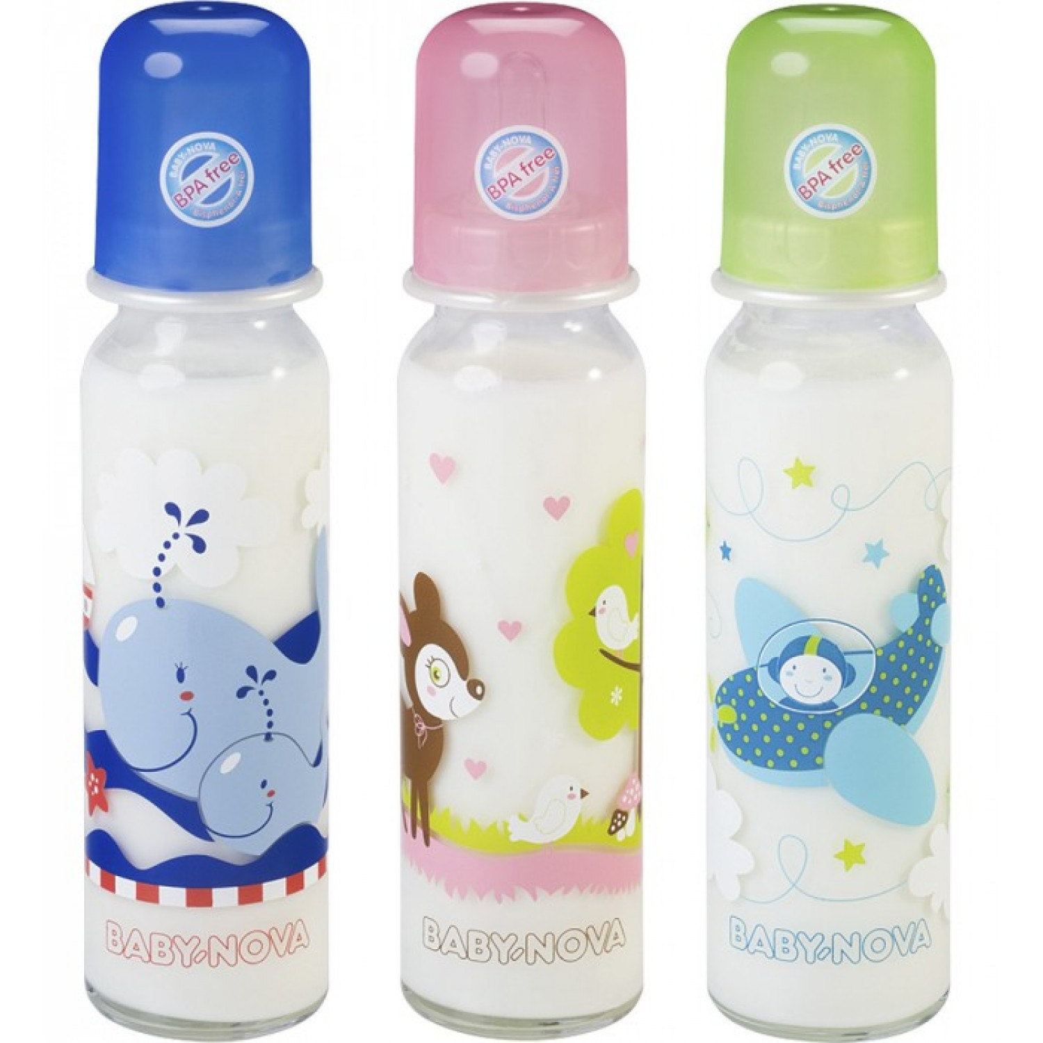 Baby Glass Feeding Bottle with cute motif, 240ml | BABY NOVA