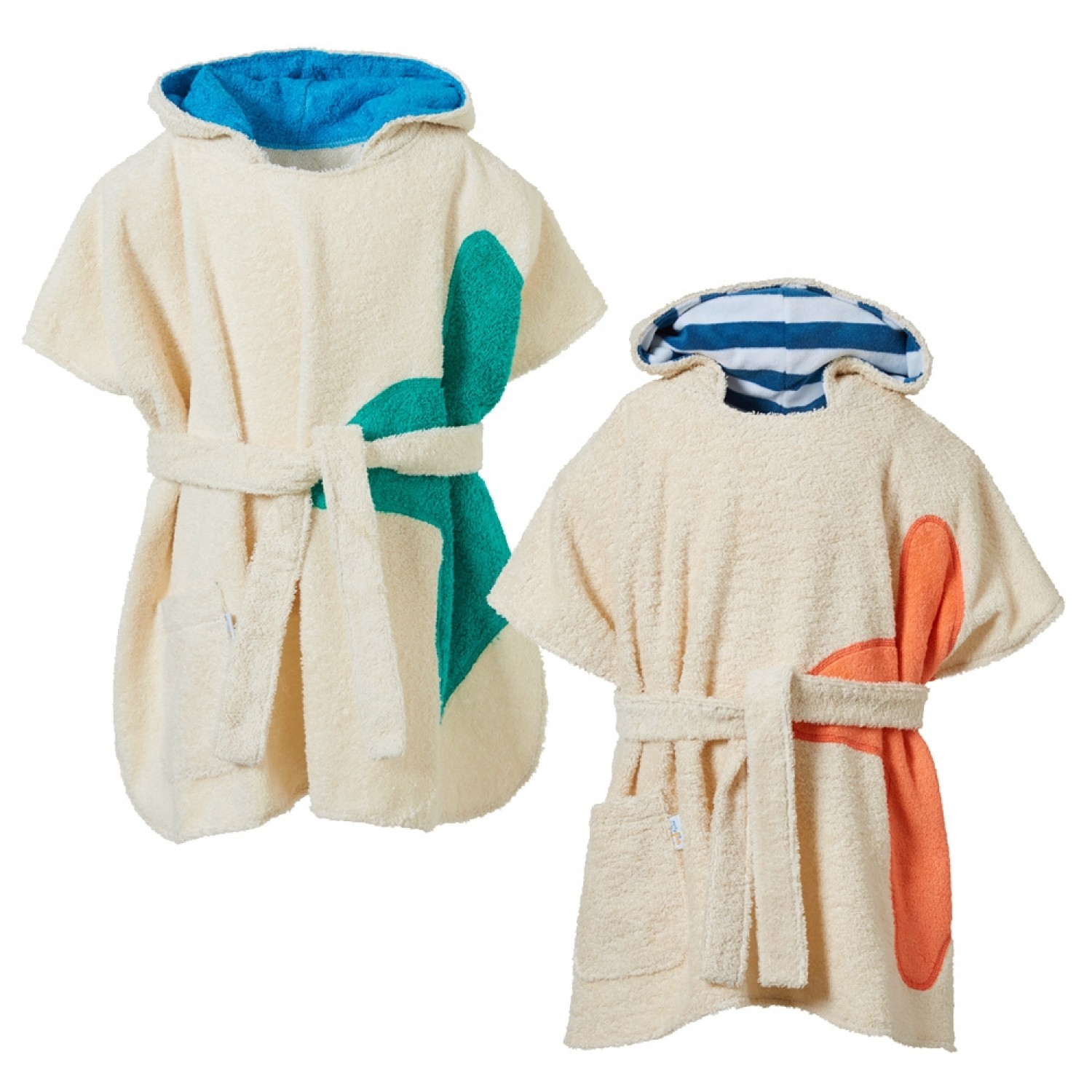 Eco Terrycloth Children's Bath Poncho with Hood | early fish