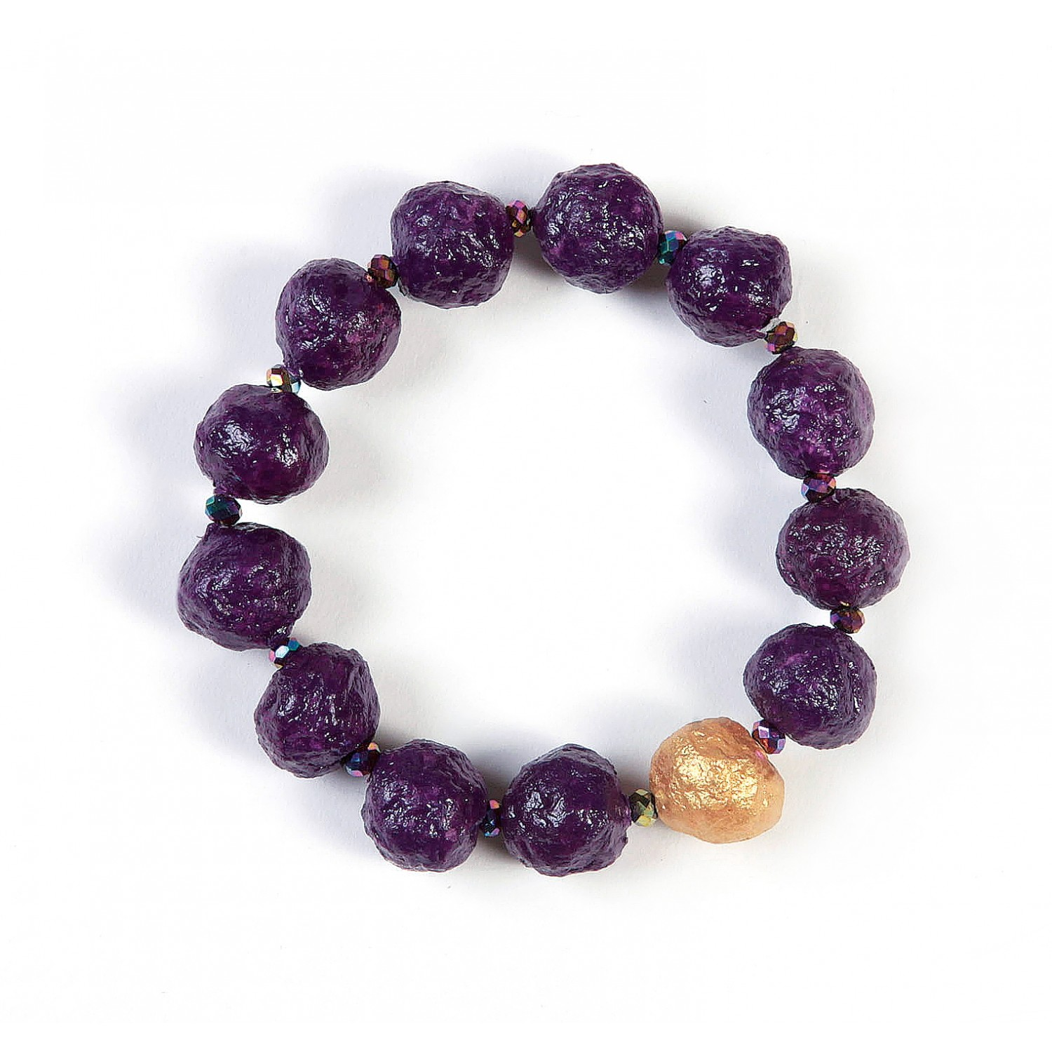 Eco Bracelet Violet with Gold Bead | Sundara Paper Art