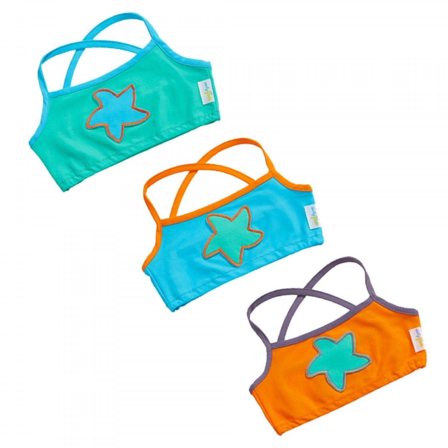 Eco Bikini Top for Girls with Starfish & UV protection 50+