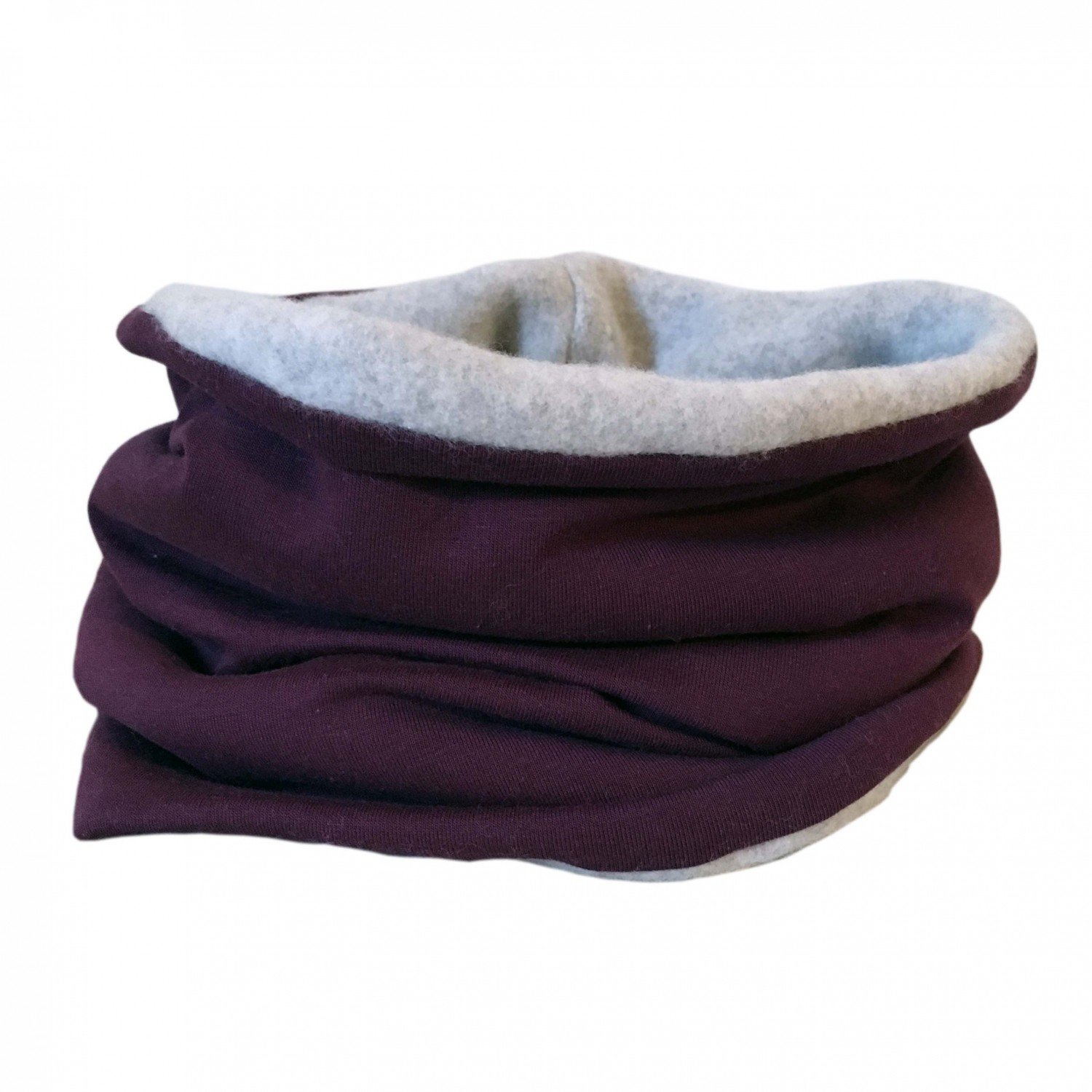 Winterproof Organic Loop Scarf aubergine/light grey | bingabonga