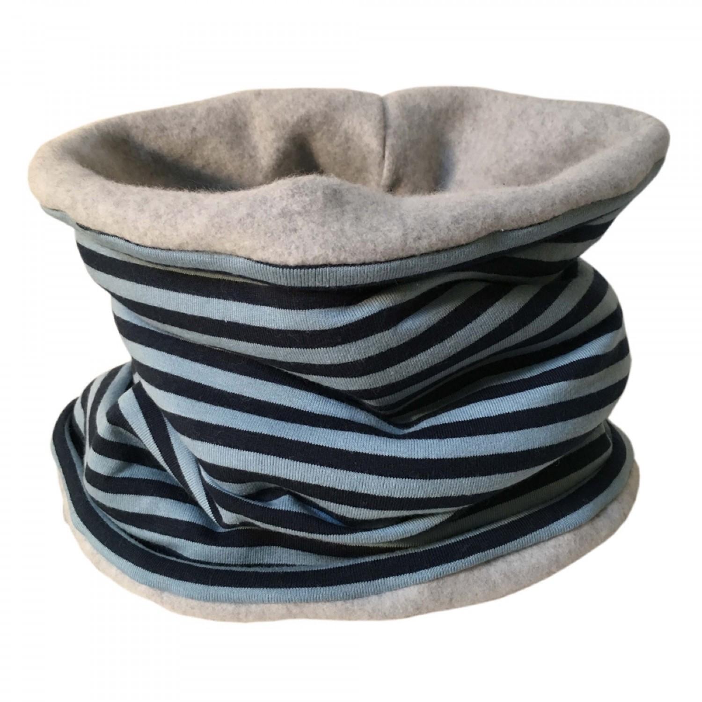 Winter Loop Scarf Jersey/Fleece Navy/Blue ringed