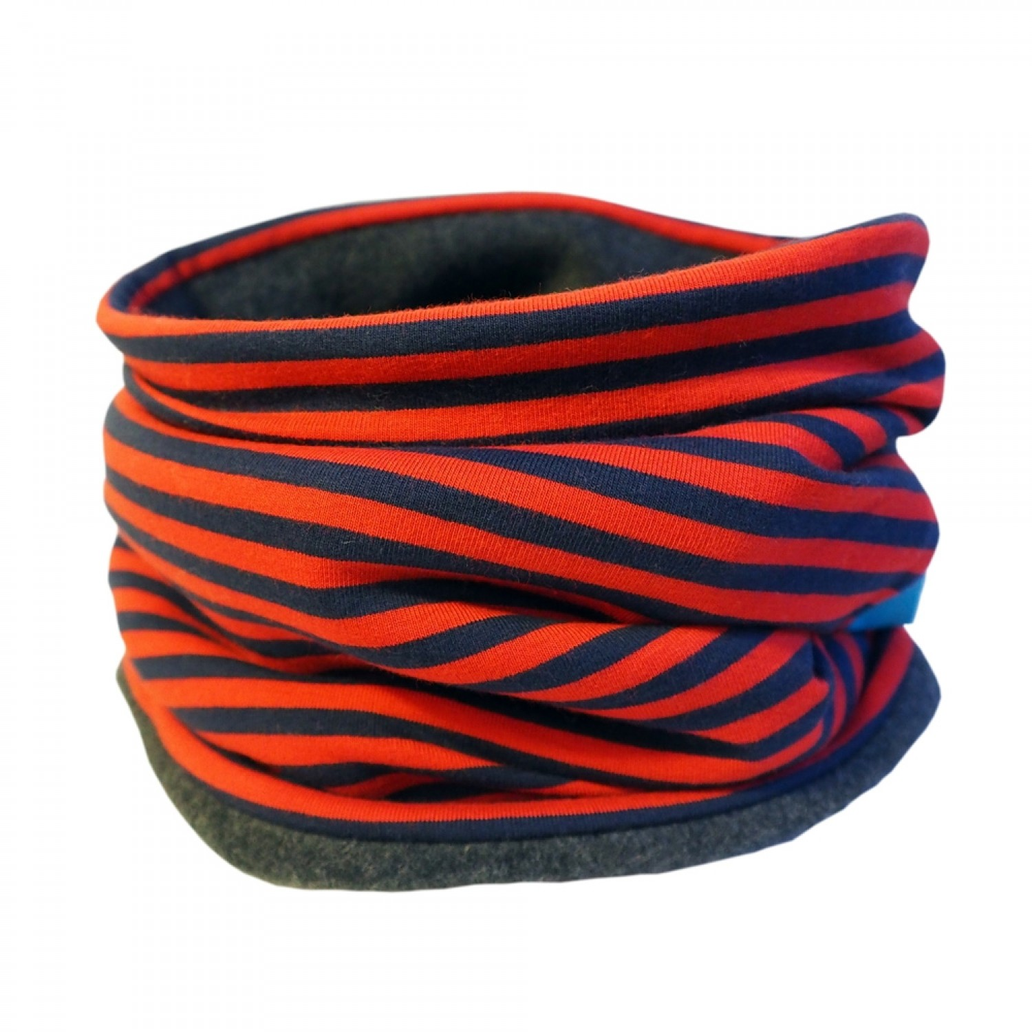 Winter Loop Scarf Eco Cotton Jersey/Fleece Navy/Red ringed