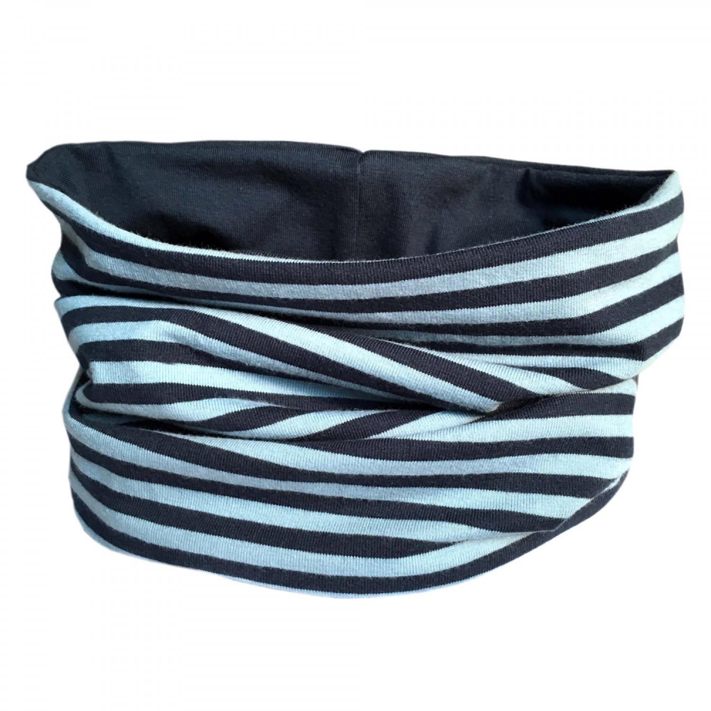 Loop scarf Navy/Blue striped and plain Blue | bingabonga