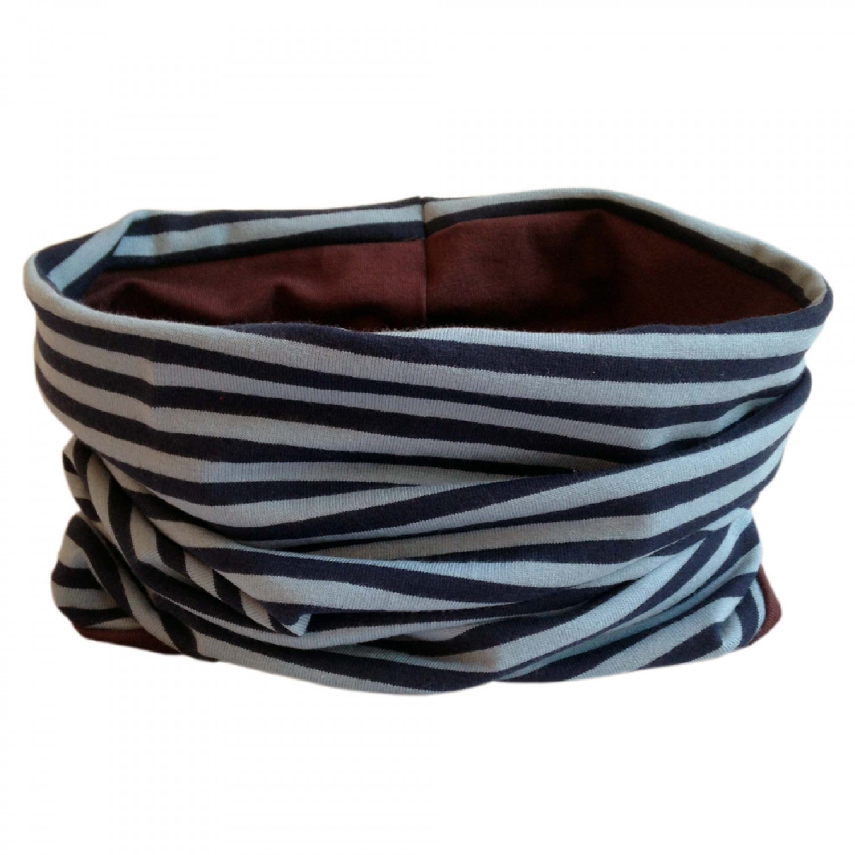 Loop scarf Navy/Blue striped and plain Brown | bingabonga