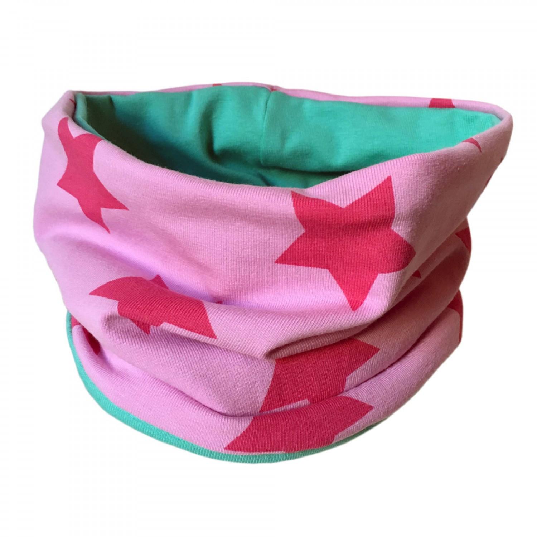 Loop scarf Pink Stars & plain Mint Green | bingabonga