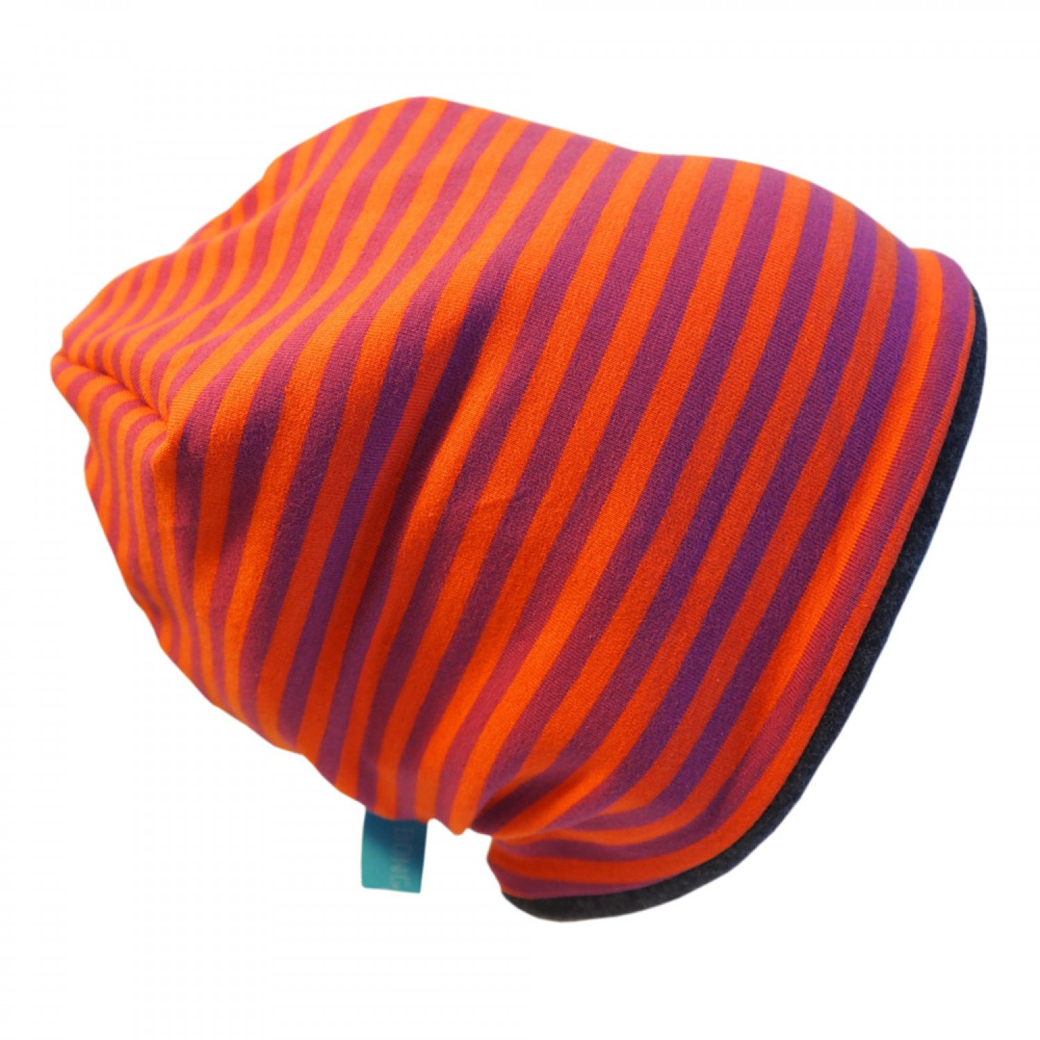 "Winter Beanie ""Line"" Purple/Orange ringed 