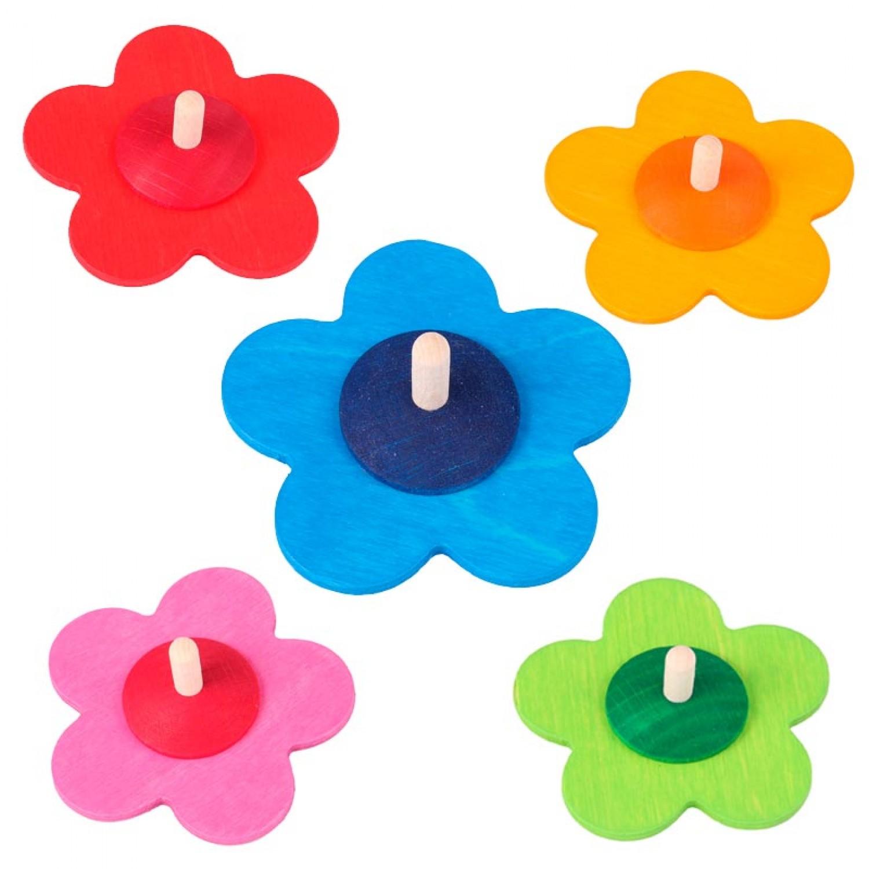 Blumenkreisel in verschiedenen Farben – Öko Holzspielzeug